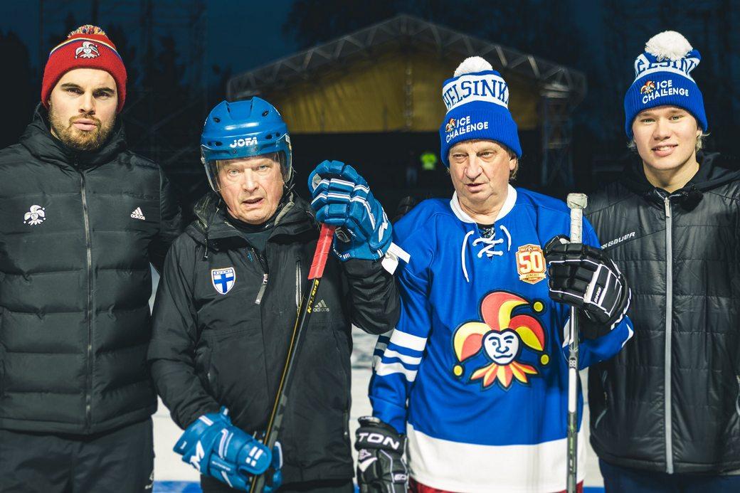 Ессе Йоэнсуу, Саули Нийнистё (президент Финляндии), Хьялис Харкимо и Яакко Парккали.