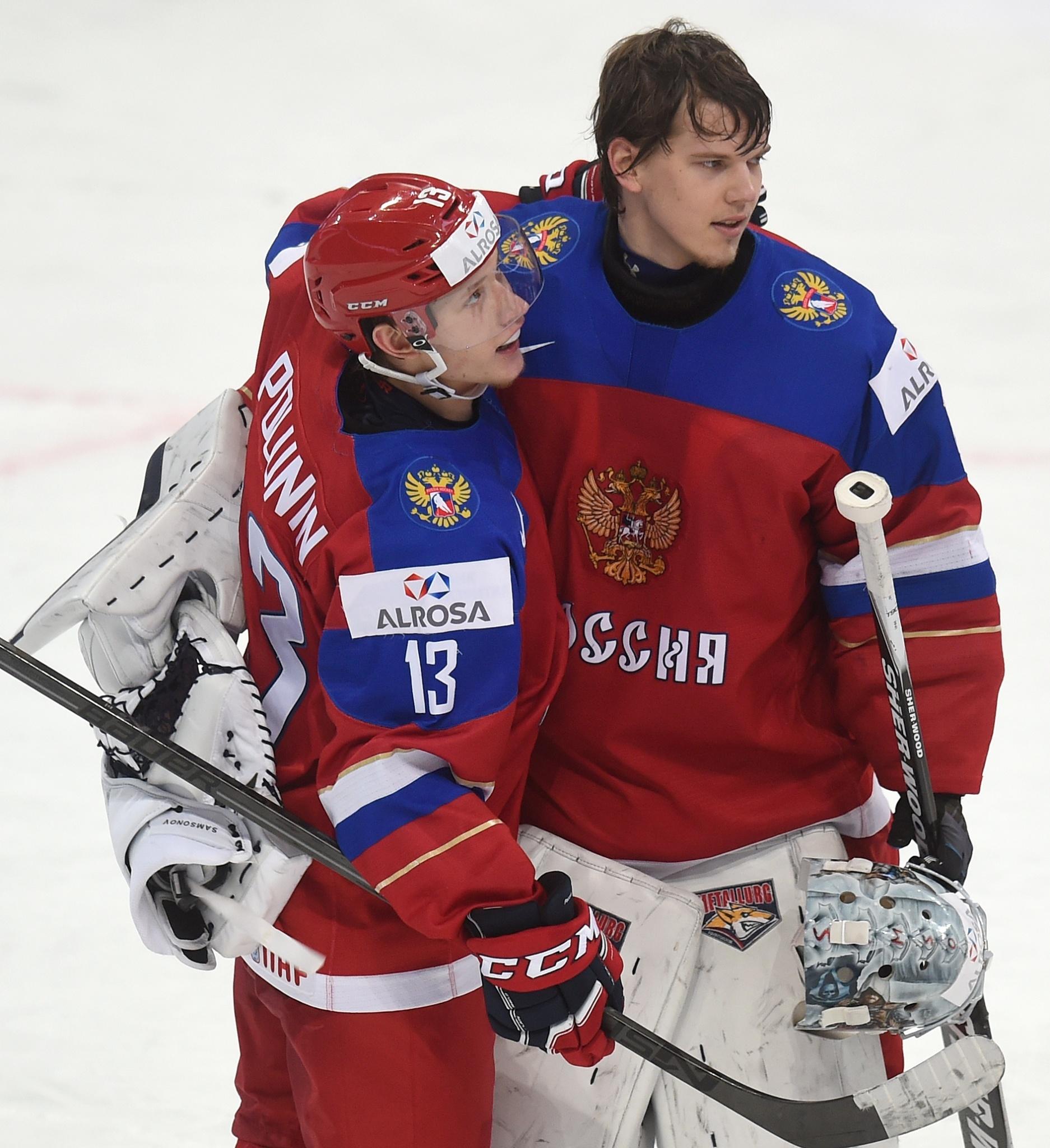 Александр Полунин и Илья Самсонов поле победы в полуфинале МЧМ-2016. Фото: Юрий Кузьмин